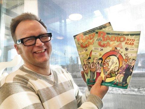 """Øyvind Sagåsen tegner """"Radio Gaga""""-serien under navnet Flis, og er nå klar med eget blad - her i form av utgave nummer 0. Foto: Gitte Johannessen / NTB"""