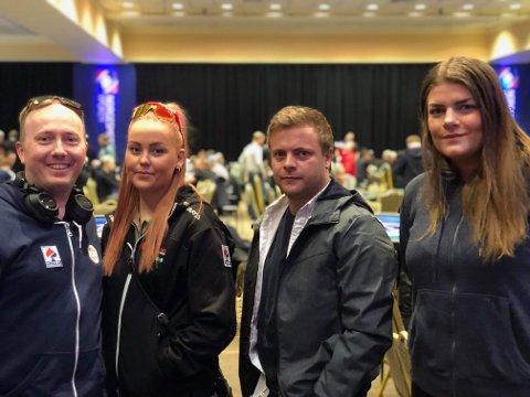 På plass: Noen av de fra Hardanger som deltar på årets poker-NM i Dublin. F.v. Erik Gustavson, Ragnhild Tveito, Rune Torblå og Silje Frøystein. Foto: Privat