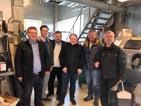 Mekanisk verksted – Arve Helle, Martin Midtbø, Roald Aga Haug, Cato Augestad, Trygve Bolstad og «Volvo» Andersson.
