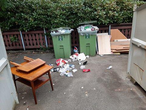 Søppelet låg strødd nederst i Tjoadalen.