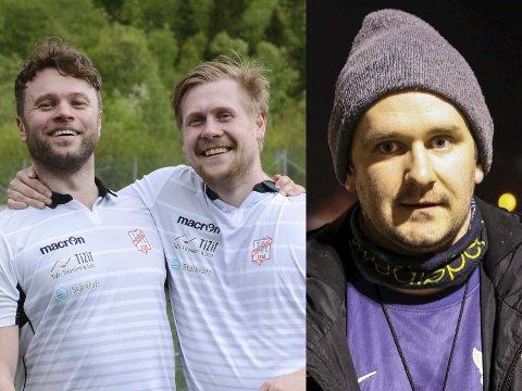 Trenarar for Tyssedal a-lag, Thomas Skjold Olsen og Rolf Rene Litsheim, og trenar for OFK a-lag, Jørn Veste.