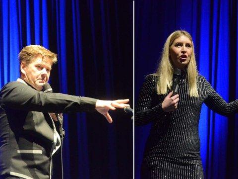 Humorshowet i kinosalen lørdag, med blant annet Roar Brekke og  Pernille Haaland på scenen, trakk 60-70 publikummere.