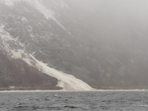 Skredet er 10-15 meter breitt.