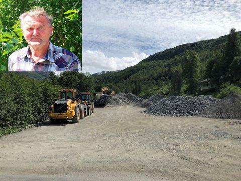 Tveit Maskin AS er i gang med byggemodning av eit hyttefelt i Langedalen. Dagleg leiar Toralv Tveit (innfelt) beklagar støy.