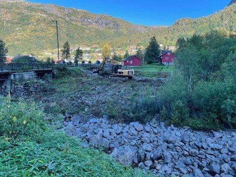 Slik såg arbeidet i Storelva ut i slutten av august.