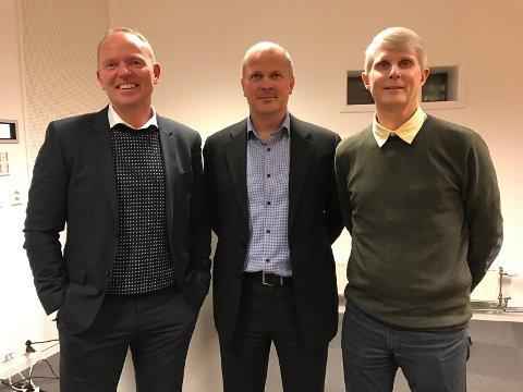 FORNØYD: Fra venstre: Frank Vikingstad i SYSCO, Aaron Merry og Øyvind Larsen fra Bicon.