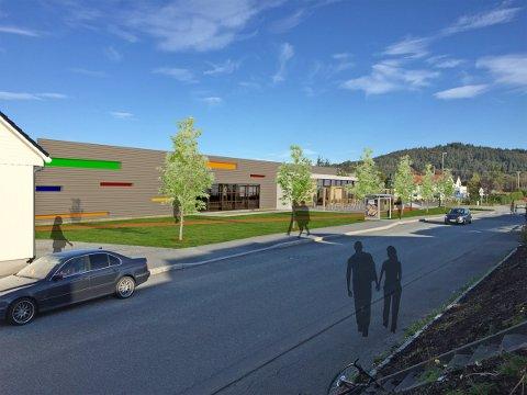 FRA SKEISVANNSVEGEN: Slik blir den nye pistol- og curlinghallen. TEGNING: Arkitektkontoret Brekke Helgeland Brekke AS