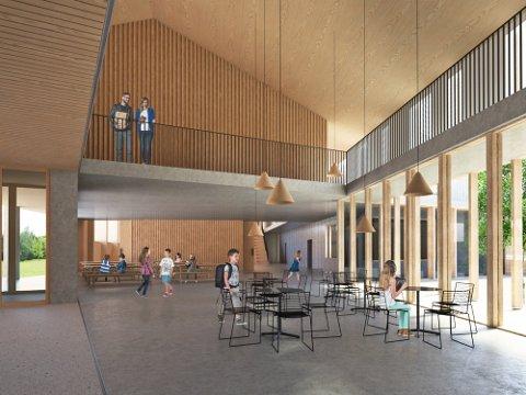2021: Tegning av fellesrom i det nye skolebygget på Stangeland i Kopervik. Skole- og idrettsbygget skal stå ferdig til skolestart 2021.   Illustrasjon: 3RW arkitekter + HLM arkitektur+ Økolog Christian E. Mong