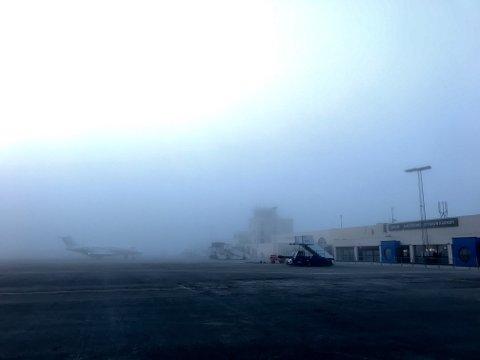 Slik ser det ut på Haugesund lufthavn Karmøy tirsdag ettermiddag.