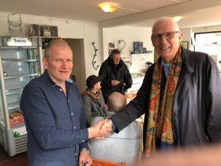 Daglig leder ved T3, Rune Hollekim (t.v.), og president Eivind Thomas Haaland i Lions Club Haugesund/Tonjer.