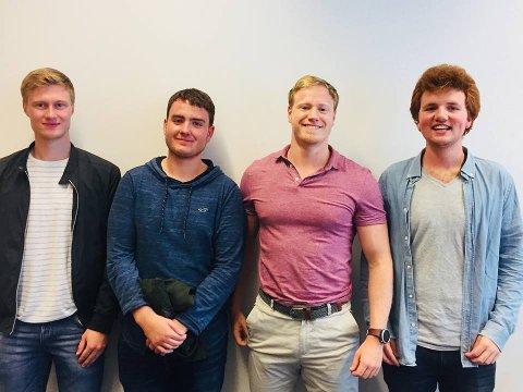 VANT: Kristian Stråbø, Sindre A. Solvang Høines, Haakon Midtun Kolstø og Jon Aarsand Lofthus skal presentere bidraget de vant med på EnergiRike sin konferanse 8. august.