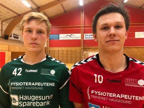 NULL POENG: 16 år gamle Bjarne Røvang klarte seg bra i mål og Stian Røkke Øvrebø (t.h.) scorte ni mål. Men HHK tapte igjen.