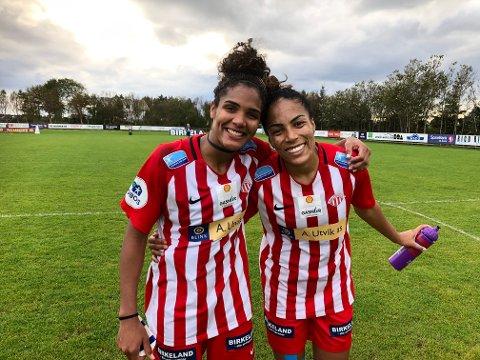 MÅLSCORERNE: Brasilianerne Duda (t.v.) scoret ett og Giovanna to da Avaldsnes slo Lyn 3-1.