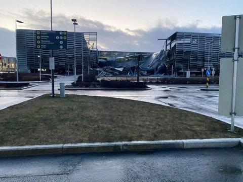 Deler av parkeringshuset har rast sammen. Det sendes fremdeles ikke brannmannskap inn i bygget grunnet sikkerhet.
