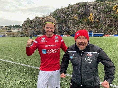 ENDELIGSEIER:Simen Grov (t.v) og Kolbjørn Fosen kunne glede seg over tre etterlengtede poeng bort mot Sotra lørdag.