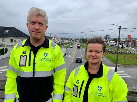 HØSTEN: Cato Severinsen er fylkeskommunens prosjektleder i Karmsundgata. Ann Mari Hardeland er seksjonssjef i Nord-Rogaland.