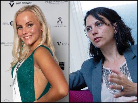 FÅR STØTTE: Psykologspesialist Ester Espeset (t.h) synes ikke kommentaren Andrea Nicole Nornes Freier fikk etter Miss Norway-finalen lørdag var greit.