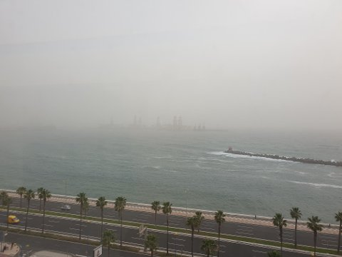 Utsikten fra hotellrommet til Lene Bakken, som ikke kom seg hjem fra Kanariøyene i sandstormen.