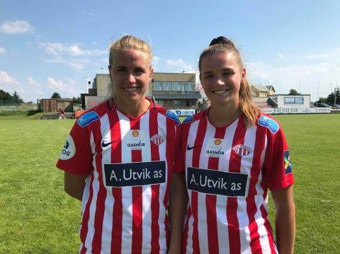 MÅLSCORERE: Elise Thorsnes (t.v.) og Andrea Norheim scorte for Avaldsnes.