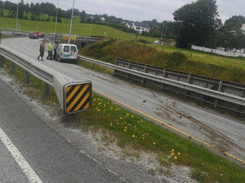 UHELL: Bilen ble stående i avkjøringen til Torvastad.