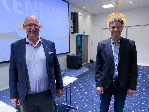 AVTALE: - Vi trenger et anlegg som er konkurransedyktig, sier adm. dir. Eilef Stange (til v.) i Gasnor.  Jan Kåre Pedersen, daglig leder i Renevo som nå bygger biogassanlegg på Eldøyane.
