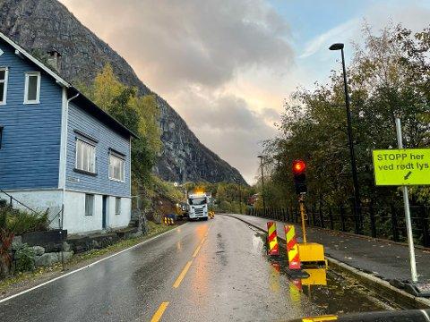 180 meter av muren langs Rv. 13 i Tyssedal skal skiftast ut.