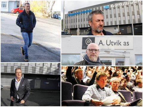 MÅ MØTE I RETTEN: Det er satt av to dager til rettssaken mellom A Utvik Holding AS og FK Haugesund AS i neste uke. Foruten partsforklaring fra Ole Henrik Nesheim (nede t.v.) og Arne Utvik (oppe t.h.), skal blant annet Brian Sjøen (oppe t.v.), Asle Skjærstad (i midten t.h.) og Thomas Kallevik (nede t.h.) vitne i saken.