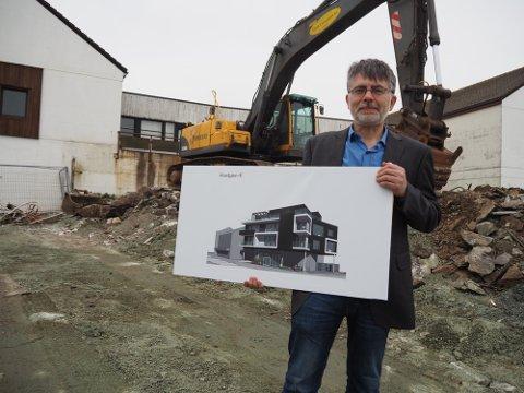 SKAL BYGGE MER: Robert Skaar i Tan Eiendomsutvikling AS da første byggetrinn ble lansert i fjor.