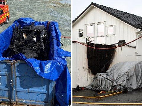 ALVORLIG BILBRANN: Først lå bilen under slokkeduker, før den ble fraktet til en kontainer hvor den skal dekkes med vann for å unngå gjenopptenning.
