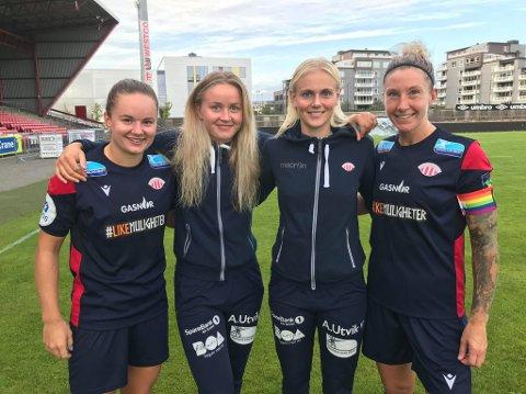 MÅLSCORERNE: Fra venstre til høyre: Rebecka Holum, Anna Jøsendal, Karina Sævik og Robyn Decker.