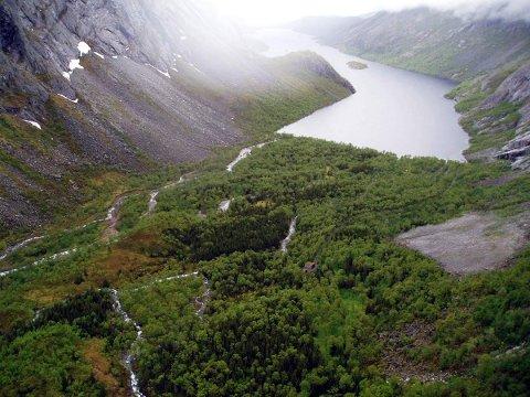Slik blir Vassenden seende ut etter kraftutbyggingen, mener Helgelandskraft. Skisse: Helgelandskraft