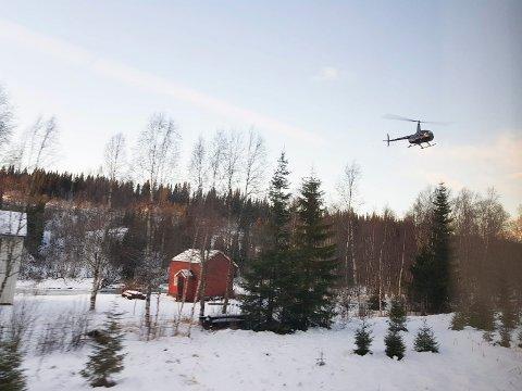 VITNE: Etter det Helgelendingen forstår så satt Torstein Appfjell fredag oppe i dette helikopteret og så at toget klarte å stanse og dermed unngå å kjøre inn ei en flokk på 40-50 reinsdyr nær Kvalforsbrua sør for Mosjøen.