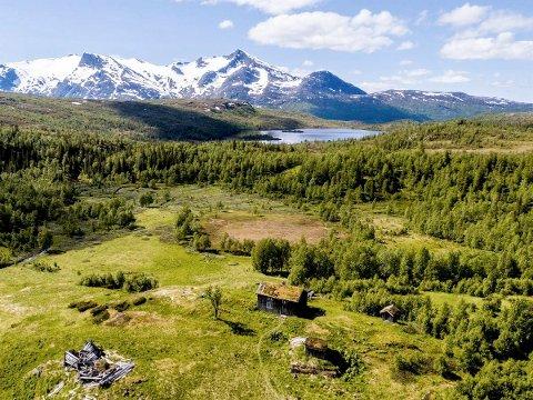 UNIK: Eiendommen Svartvatnet gård er 13.500 mål, ligger en times gange sør for Korgfjellet og har utsikt over Svartvatnet og videre til Lukttinden, Dårtinden og Middagstinden i søvest.