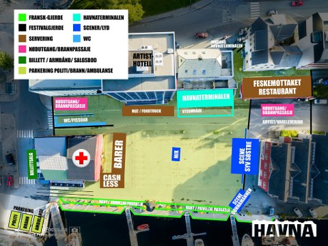 STORSTILT ARRANGEMENT: Skissa over festivalområdet med tilhørende funksjoner gir et inntrykk av alt som skal på plass til neste helg.