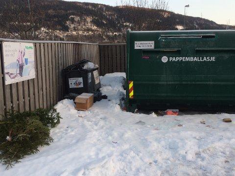 Esker, juletrær og annet avfall lå spredt rundt konteinerne på Sjøsiden på lørdag.