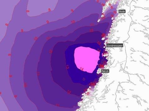 Det er fredag ettermiddag sendt ut oransje farevarsel for høy vannstand i Nordland og Trøndelag.