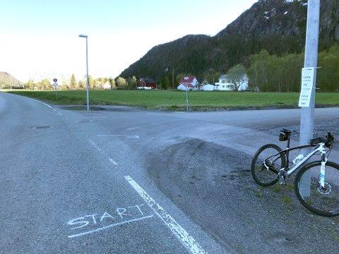 START OG MÅL: Sykkeletappen til Øksendalsåsen har start og mål ved Bilfokus på Øya.