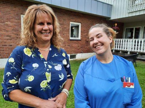 GLEDE:  De ansatte gleder seg til å flytte inn i nytt sykehjem.  Leder Linda Gunnarsen er veldig glad for å ha nyansatte  og nyutdannede Ida Pedersen med seg inn i den nye sykehjems-verdenen i Grane.