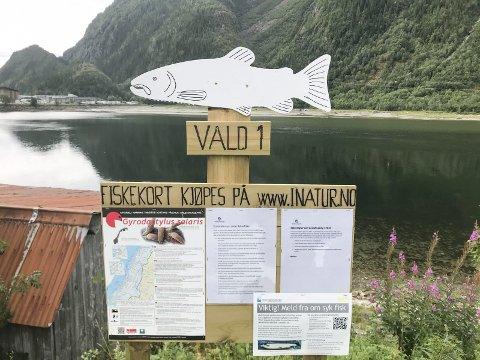VEFSNA: Laksefisket i Vefsna ble gjenåpnet i 2018. På Vald 1 kan man fiske fra Alcoa og opp til Fredlundskogen der elva fra Øydalen renner ut. Dette skiltet står like ovenfor Fru Haugans Hotel.  Foto: Per Vikan
