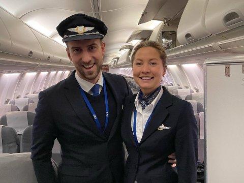 SISTE DAG: Nyttårsaften hadde Ingrid Gulstuen Krogh og Joachim de Raad Ness sin siste dag på jobben i SAS. Fra første januar blir de, som mange andre SAS-piloter, sagt opp.