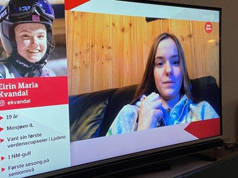 BLANDEDE FØLELSER: Eirin Maria Kvandal forteller at det er litt dystert å sitte hjemme mens VM pågår i Oberstdorf, men hun var glad for Norges innsats i hoppbakken.