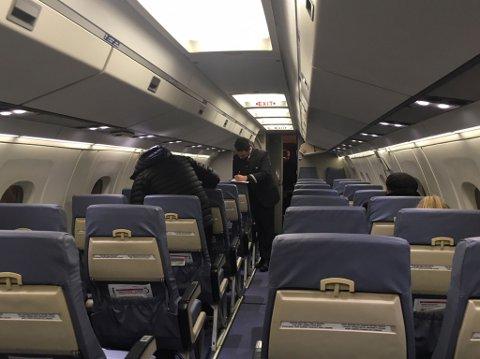 FÅ PASSASJERER: Slik ser ettermiddagsflyet til FlyViking fra Tromsø til Hammerfest ut torsdag.