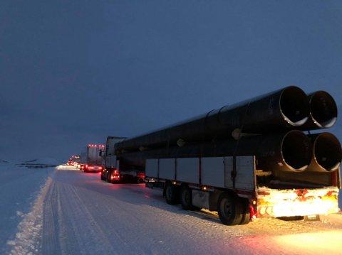 LANGE KØER: Et vogntog har torsdag kjørt av veien ved Sennalandet.