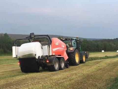 HEKTISKE DAGER: Innhøstingen i Vajamohkenjarga i Karasjok ble ferdig på mandag. Bonde Tor Mikkel Eira ble ferdig med 1. slåtten denne uken. Nå satser han på en til innhøsting seinere i høst.