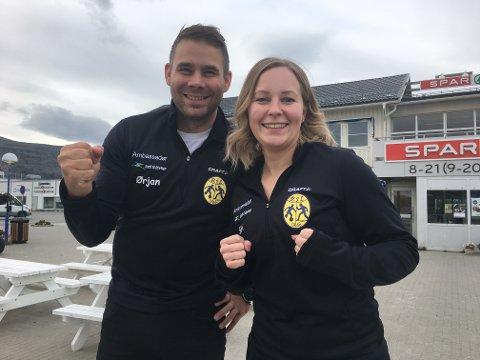 KLAR TIL KAMP: Ørjan Langsholt og Siri Eliassen i Billefjord IL vil gi Leknes skiklubb kamp til døra.