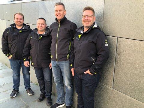 NYE KOLLEGER: Harald Skavikmo, Tom Jarle Hansen, Arne Kristian Vestre og Bernth Sjursen gleder seg til å jobbe sammen i nye Frydenbø Industri Nord.
