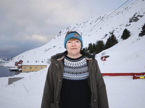 HIT, MEN IKKE LENGER: 7. april var dette situasjonen for museumsbestyrer Liv Jorunn Lauritsen Nygård . Hun fortvilte over at hun ikke kom  seg på jobb på Foldalbruket (det røde i bakgrunnen). Veien var stengt på grunn av skredfare. Nå er heldigvis faren over.