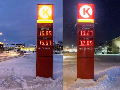 STORE SVINGNINGER: Bensin- og dieselprisene steg nesten tre kroner onsdag formiddag i Kirkenes. Circle K hadde byens laveste bensinpris. Konkurrent og Shell-sjef Knut Rollstad tror prisene snart skal kraftig ned igjen.