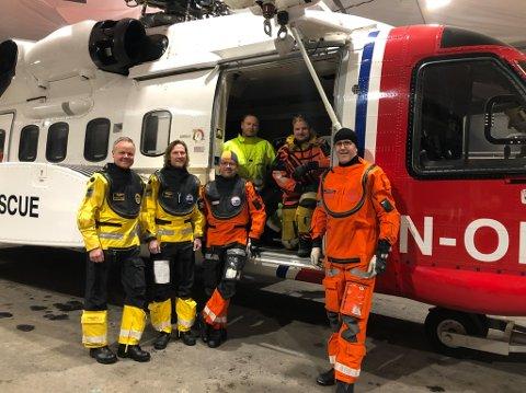 SAR-crew: Fra venstre: Kaptein Jan Møller Andersen, pilot Mikael bergfelt, SAR-sykepleier Stein Rasmussen, tekniker Roy Willy Antonsen, heisoperatør Olav Thorsen og SAR-sykepleier Lars Kjærvik.