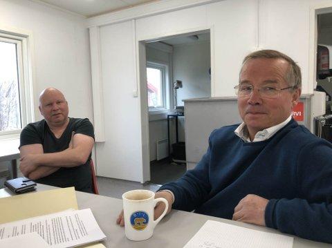 FAGSKOLEN: Fagskolen for anlegg og Bergverk i Bjørnevatn ved fagleder Trond Dahlberg (til høyre) og faglærer anlegg, Tom Witsø. De er klare til å hjelpe Sydvaranger med rekruttering av fagfolk til gruvedriften.